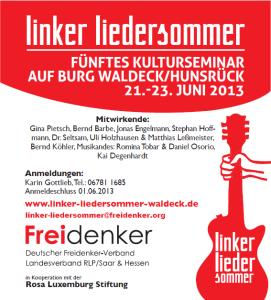 Linker Liedersommer auf Burg Waldeck Juni 2013